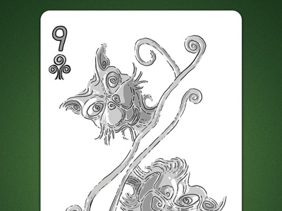 9 of Clubs aka 9 Of Air deck of elements magic cards magic card playing cards playing card poker cards poker card 9 of air 9 of clubs linedetail line
