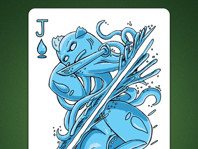 Jack of Spades aka Jack Of Water deck of elements magic cards magic card playing cards playing card poker cards poker card jack of water jack of spades linedetail line