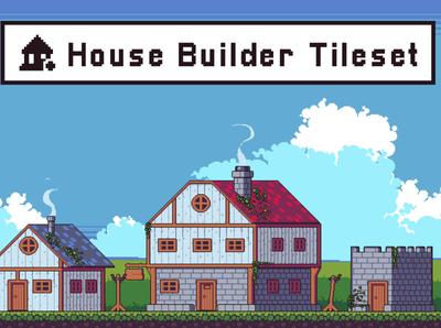 House Builder Game Tileset Pixel Art