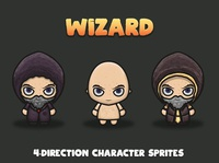 Wizard 4 Direction Game Characters
