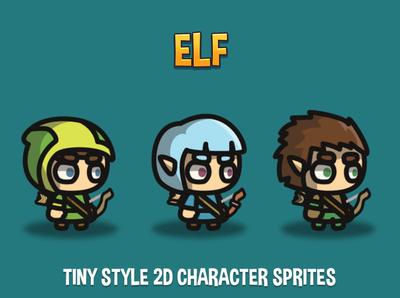 Elf Tiny Style 2D Sprites sprite rpg platformer indie game gamedev game assets game fantasy character 2d