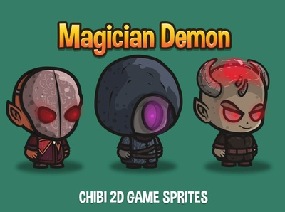 Magician Demon 2D Character Sprites superhero sprite platformer indie game gamedev game assets game fantasy character 2d