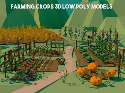 Free Farming Crops 3D Low Poly Pack crops lowpolyart low-poly low poly lowpoly gamedev game assets 3d