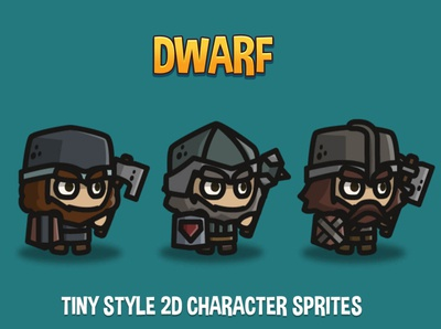 Dwarf Tiny Style 2D Sprites dwarf sprite rpg platformer indie game gamedev game assets game fantasy character 2d