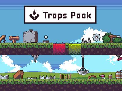 Pixel Art Animated Traps trap game indie game sprite platformer pixel art pixelart gamedev game design game assets 2d
