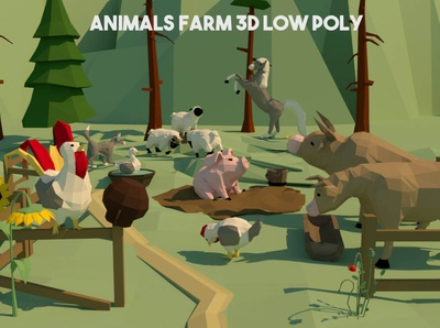 Animals Farm 3D Models 3d art pig cow farm animal animals 3dmodeling 3dmodel lowpolyart low-poly low poly lowpoly 3d game assets gamedev