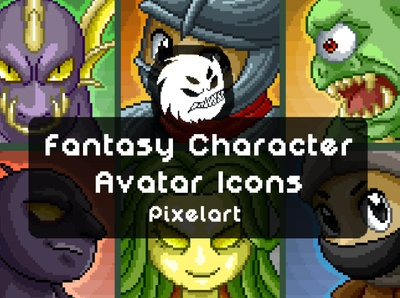 Free Fantasy Character Avatar Icons monsters avatar indie game character fantasy game assets game 2d