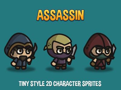 Assassin Tiny Style 2D Sprites sprite rpg platformer indie game gamedev game assets game fantasy character 2d