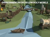 Environment Props 3D Models 3d art 3d wooden fences signpost bridge props lowpolyart low-poly low poly lowpoly gamedev game assets