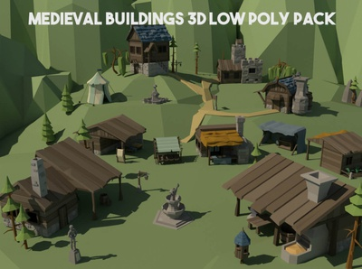 Medieval Building 3D Low Poly Pack medieval lowpolyart low-poly low poly lowpoly game assets gamedev