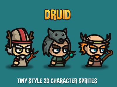 Druid Tiny Style 2D Sprites indie game sprite rpg platformer character fantasy game game assets 2d gamedev