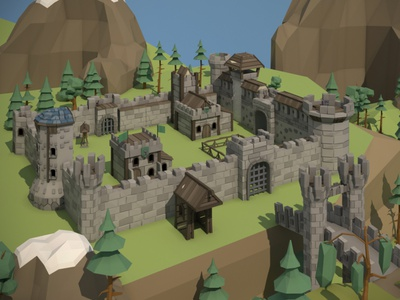Medieval Fortress 3D Low Poly Pack lowpolyart low-poly low poly lowpoly medieval fortress indie game game assets 3d art 3d gamedev