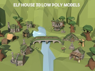 Free Elf House 3D Low Poly Pack houses models lowpolyart low-poly low poly lowpoly 3d art 3d gamedev