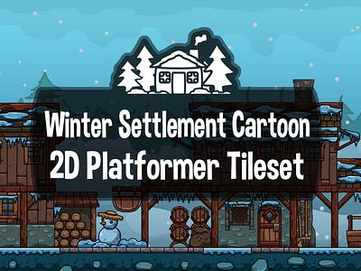 Winter Settlement 2D Tileset tileset settlement winter platformer indie game game assets 2d gamedev