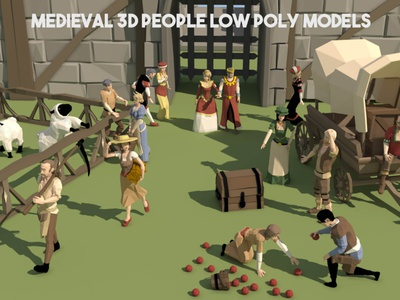 Free Medieval 3D People Low Poly Pack models lowpolyart low-poly low poly lowpoly low people medieval 3d art 3d gamedev