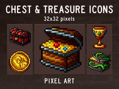 Chest and Treasure Pixel Art Game Icons pixelart indiedev icons gamedev gameassets craftpix