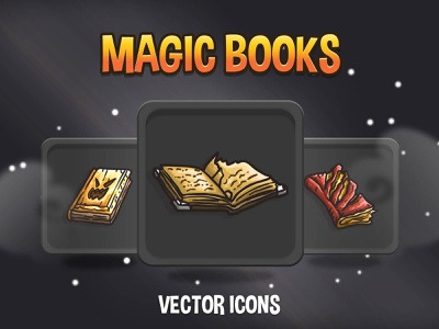 Magic Book Vector Game Icons indiedev icons gamedev gameassets craftpix