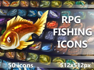 50 Fishing RPG Icons 2d indie game game assets indiedev icons gamedev gameassets craftpix