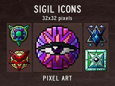 Sigil RPG Game Icons Pixel Art pixelart indiedev icons gamedev gameassets craftpix