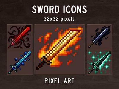 Sword RPG Icons Pixel Art pixelart indiedev icons gamedev gameassets craftpix