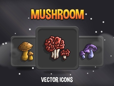Mushroom RPG Icon Collection indiedev icons gamedev gameassets craftpix
