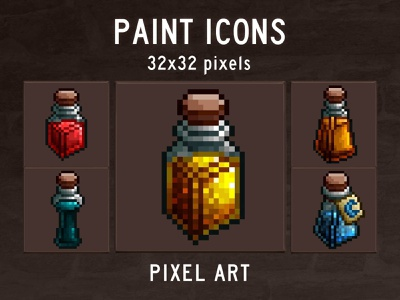 Free 48 Paint Pixel Art Icon Pack indie game game assets 2d pixelart indiedev icons gamedev gameassets craftpix