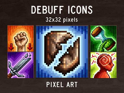 48 Debuff Skill Pixel Art Icons pixelart indiedev icons gamedev gameassets craftpix