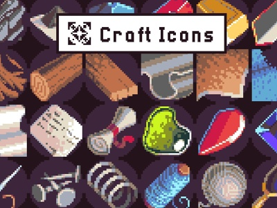 40 Icons for Crafting Pixel Art Pack pixelart indiedev icons gamedev gameassets craftpix