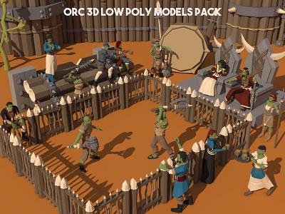 Orc 3D Low Poly Models Pack game design character rpg fantasy indie game gamedev game assets 3d art 3d