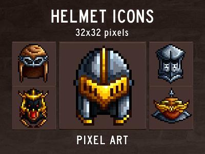 Helmet Pixel Art Game Icons pixel art indie game 2d pixelart indiedev icons gamedev gameassets craftpix