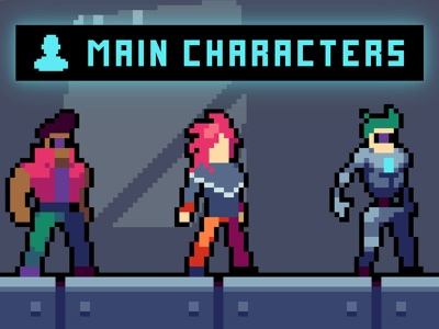 Free 3 Cyberpunk Characters Pixel Art pixelart characters character pixel art indie game game assets 2d gamedev