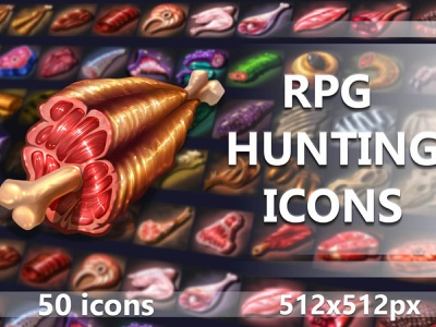 50 RPG Hunting Icons indiedev icons gamedev gameassets craftpix