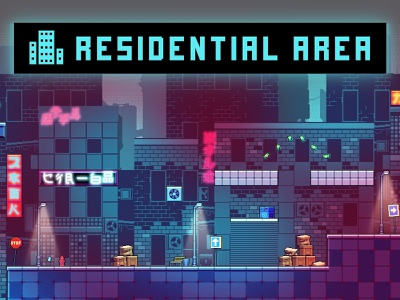 Residential Area Tileset Pixel Art tileset tilesets cyberpunk indie game 2d game assets gamedev pixelart