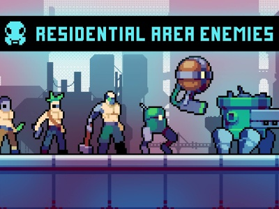 Residential Area Enemies Pixel Art Pack sprites platformer indie game game assets 2d gamedev pixelart