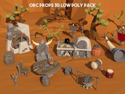 Orc Props 3D Low Poly Pack fantasy rpg indie game game assets 3d gamedev