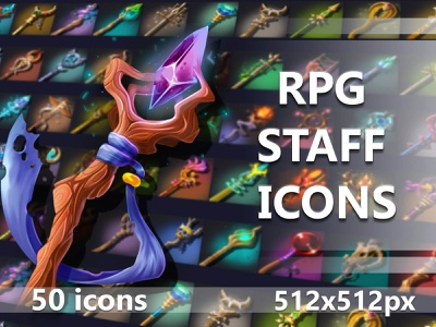 50 RPG Staff Icons rpg icons icons icon fantasy rpg indie game game assets 2d gamedev indiedev
