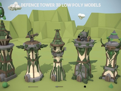 Free Defence Tower 3D Low Poly Models 3d models tower defence low-poly 3d fantasy indie game game assets gamedev lowpoly