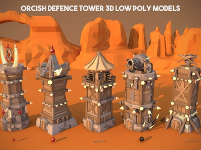 Battle Tower 3D Low Poly Models tower-defense tower-defence low-poly weapons tower-3d indie game game assets defense medieval towerdefense tower lowpoly