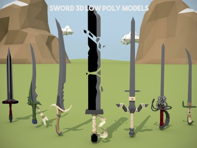 Free Sword 3D Low Poly Models weapon weapons polygon 3d low poly 3d game assets 3d assets 3d models low-poly 3d sword lowpoly