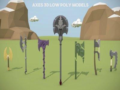 Axe and Poleaxe 3D Low Poly Pack weapons weapon polygon poly low poly low polly low axes axe 3d model 3d low poly models 3d low poly 3d game assets 3d game 3d assets 3d 3d models