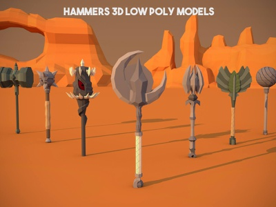 Free Hammer 3D Low Poly Pack weapons weapon rpg polygon poly models model mmorpg mace lowpoly low jrpg hammer 3d