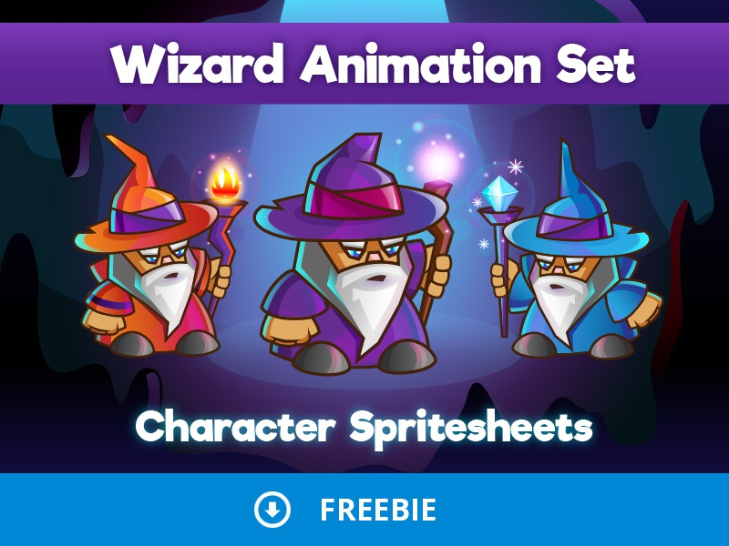 Free 2d Wizard Character Sprites Sheets by 2D Game Assets on