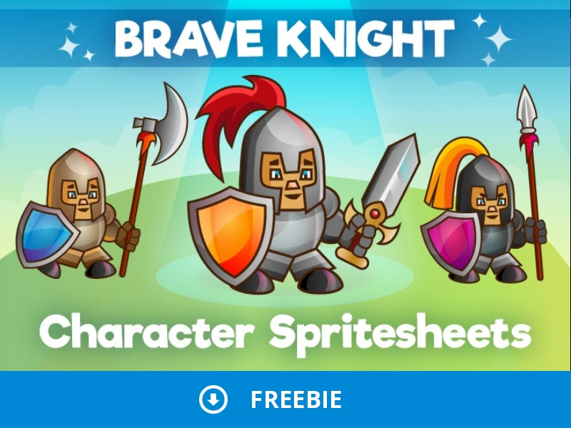 Free 2d Knight Character Sprites Sheets by 2D Game Assets on