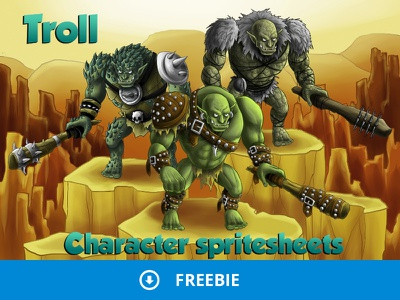 Free 2d Troll Character Sprites defence tower rpg platformer troll gaming gamedev freebie free fantasy character
