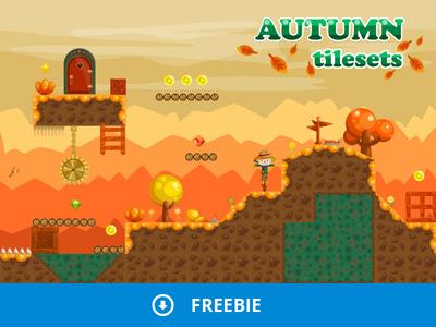 Free Platformer Autumn Game Tileset