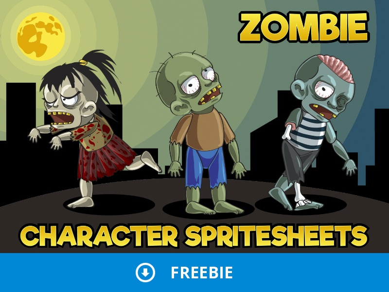 2d game zombie character free sprite pack 1 by 2d game assets