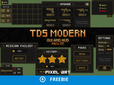Free TDS Modern: GUI Pixel Art by 2D Game Assets - Dribbble