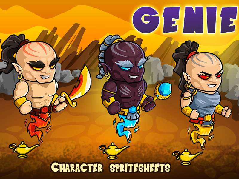 2D Fantasy Genie Sprite by 2D Game Assets on Dribbble