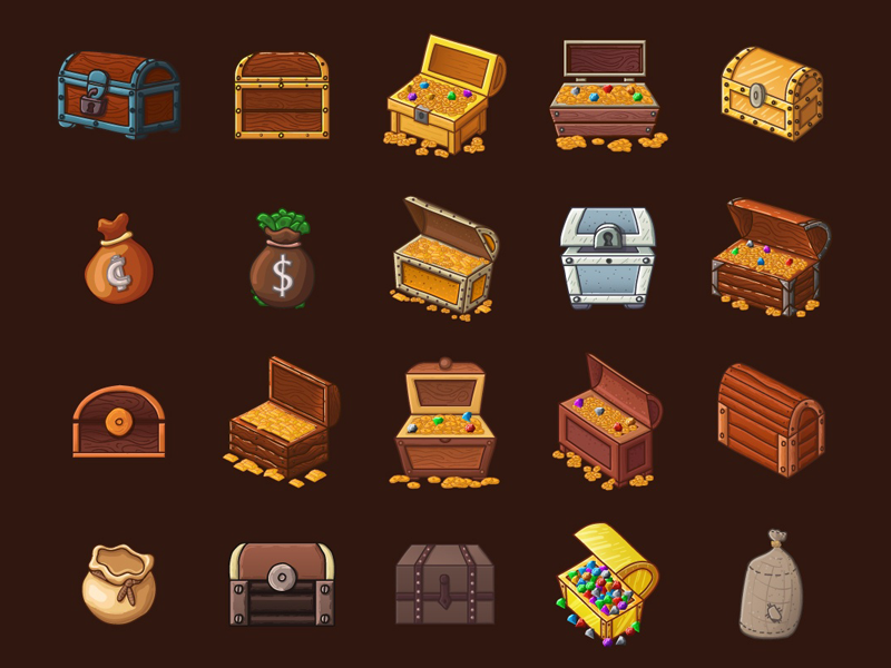 Chests and Treasures 2D Game Items treasures chest game assets objects game items game 2d