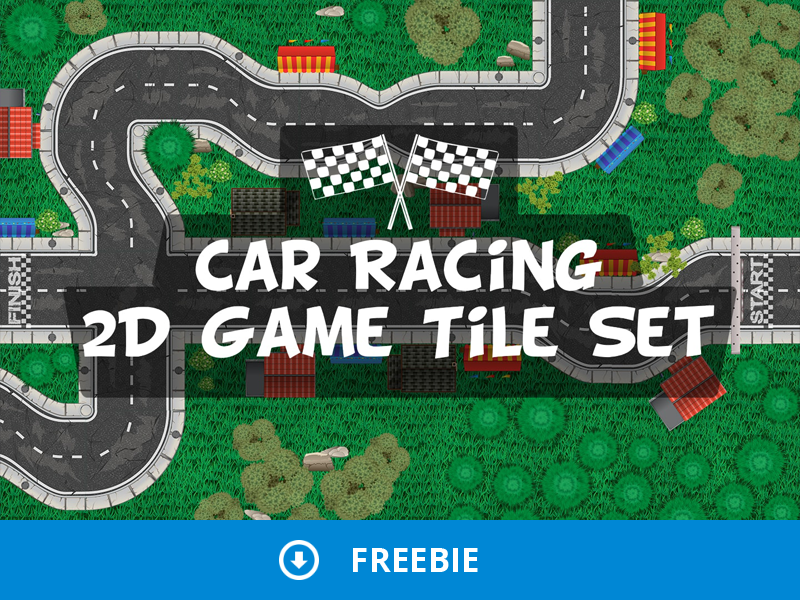 Free Race Track Tile Set by 2D Game Assets on Dribbble